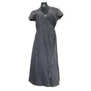 Sundance 100% Linen Midi Wrap Dress